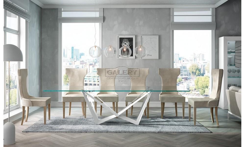 Mesa comedor MII.01 Cristal y blanco